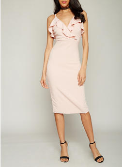Sleeveless V Neck Midi Dress with Ruffled Details - 1410015995400