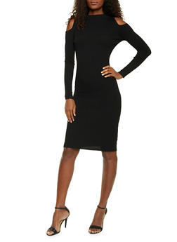 Cold Shoulder Dress with Long Sleeves - BLACK - 1410015995760