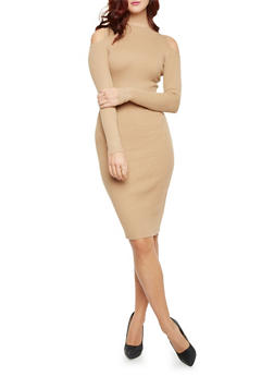 Rib Knit Cold Shoulder Bodycon Dress with Long Sleeves - 1410015995760