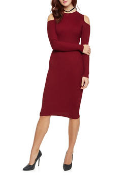 Rib Knit Cold Shoulder Bodycon Dress with Long Sleeves - BURGUNDY - 1410015995760