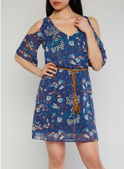 Floral Cold Shoulder Dress with Braided Belt - 1410015995950
