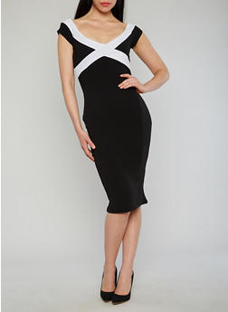 Off the Shoulder Mid Length Dress - BLACK/WHITE S - 1410015996095