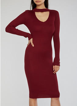 Ribbed Knit Long Sleeve Keyhole Dress - 1410015996351