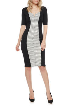 Bodycon Dress with Striped Illusion Paneling - 1410015996653