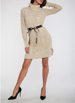 Cable Knit Belted Sweater Dress - 1410015996670