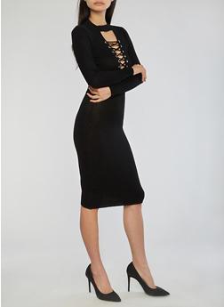 Lace Up Keyhole Ribbed Knit Dress - BLACK - 1410015996810