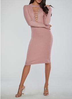 Lace Up Keyhole Ribbed Knit Dress - 1410015996810
