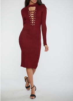 Lace Up Keyhole Ribbed Knit Dress - 1410015996810