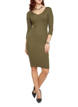 Ribbed Midi Dress with Back Cutout - OLIVE - 1410015997037
