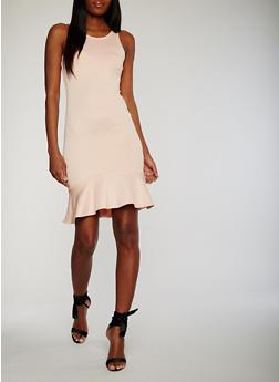 Scuba Knit Bodycon Dress with Flounce Hem - BLUSH - 1410015997095