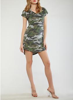 Camo T Shirt Dress - 1410015997204