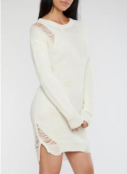 Distressed Heavy Knit Sweater Dress - IVORY - 1410015997970