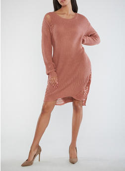 Distressed Heavy Knit Sweater Dress - 1410015997970
