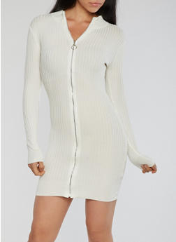 Zipper Front Ribbed Knit Dress - IVORY - 1410015998161
