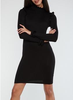 Mock Neck Ruffle Detail Sweater Dress - BLACK - 1410015998180