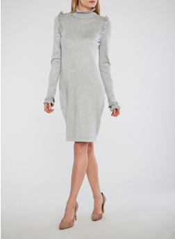 Mock Neck Ruffle Detail Sweater Dress - HEATHER - 1410015998180