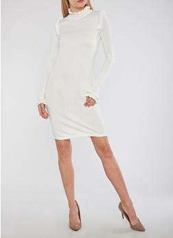 Mock Neck Ruffle Detail Sweater Dress - 1410015998180