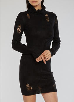 Distressed Ribbed Knit Dress - 1410015998190