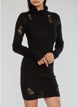 Distressed Ribbed Knit Dress - BLACK - 1410015998190