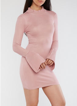 Bell Tie Sleeve Bodycon Dress - 1410015998500