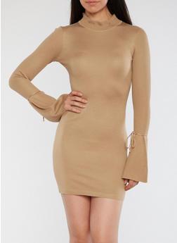 Bell Tie Sleeve Bodycon Dress - 1410015998500