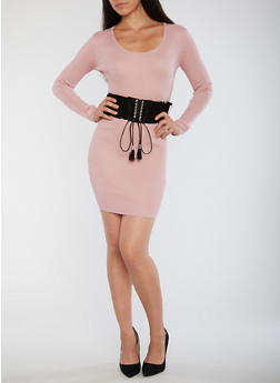 Ribbed Knit Bodycon Dress with Corset Belt - 1410015998510