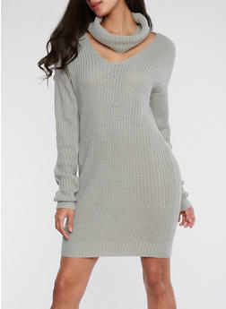 Cowl Neck Knitted Sweater Dress - SILVER - 1410015998520