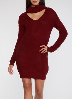 Cowl Neck Knitted Sweater Dress - 1410015998520