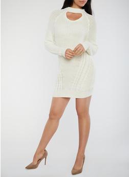 Choker Neck Chunky Knit Sweater Dress - OFF WHITE - 1410015998540