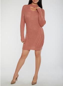 Choker Neck Chunky Knit Sweater Dress - MAUVE - 1410015998540