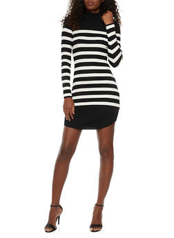 Striped Sweater Dress in Ribbed Knit - 1410015998570