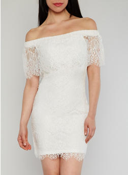 Off The Shoulder Lace Dress with Frayed Edges - 1410015998760