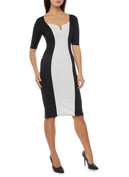 Color Block Dress in Stretch Knit - 1410015998940
