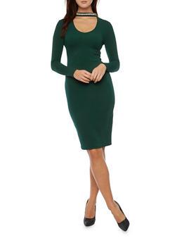 Long Sleeve Bodycon Dress with Beaded Choker Collar - 1410015999210