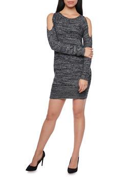 Cold Shoulder Sweater Dress - BLACK - 1410015999440
