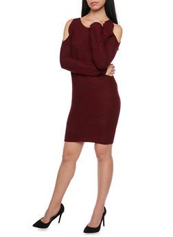 Cold Shoulder Sweater Dress - WINE - 1410015999440