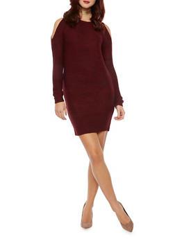 Cold Shoulder Sweater Dress - BURGUNDY - 1410015999440
