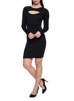 Rib Knit Dress with Cutout - BLACK - 1410015999730