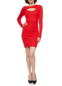 Rib Knit Long Sleeve Bodycon Dress with Front Keyhole - RED - 1410015999730