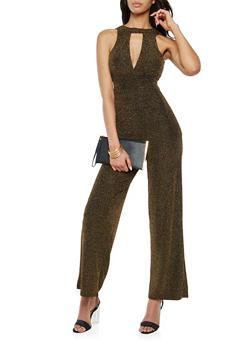 Glitter Knit Choker Neck Jumpsuit - 1410015999774
