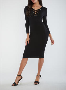 Ribbed Knit Lace Up Midi Dress - 1410015999813