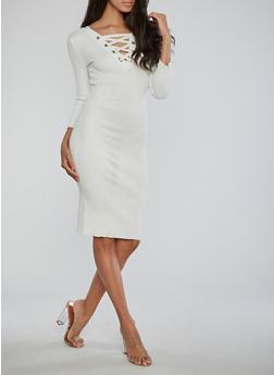 Ribbed Knit Lace Up Midi Dress - IVORY - 1410015999813