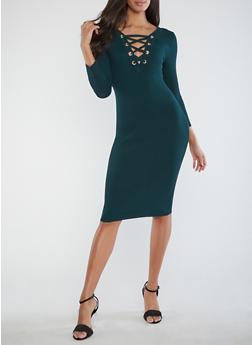 Ribbed Knit Lace Up Midi Dress - PINE - 1410015999813