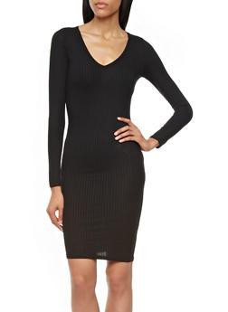 Long Sleeve Ribbed Knit Bodycon Dress with V-Neckline,BLACK,medium