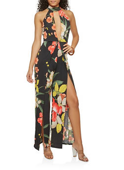 Tropical Print Open Leg Jumpsuit - BLACK B - 1410054211383