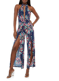 Tropical Print Open Leg Jumpsuit - NAVY  C - 1410054211383