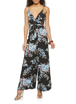 Sleeveless Floral Print Jumpsuit - 1410054211389