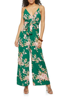 Sleeveless Floral Print Jumpsuit - 1410054211389