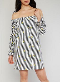 Off the Shoulder Striped Pineapple Print Shift Dress - 1410054211598