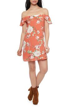 Off the Shoulder Floral Dress - 1410054211618